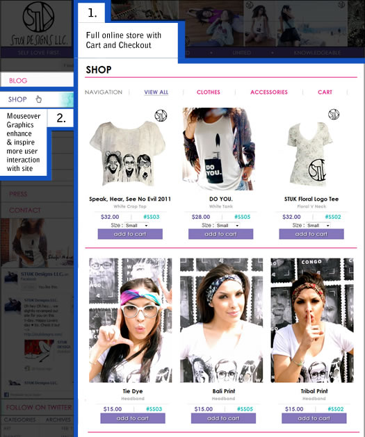 shop integration in website design