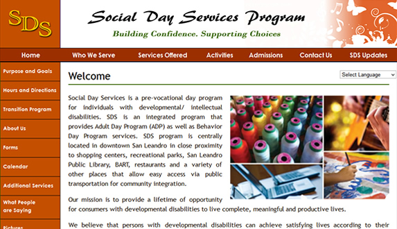 Social Day Services WordPress Redesign
