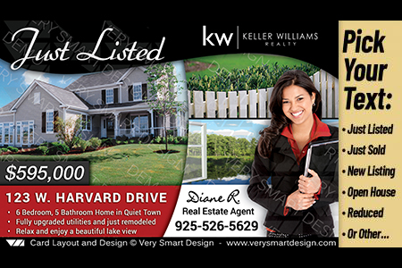 Improve your real estate marketing with 1200 premium business cards black and red custom keller williams postcards real estate just listed templates 1a reheart Gallery