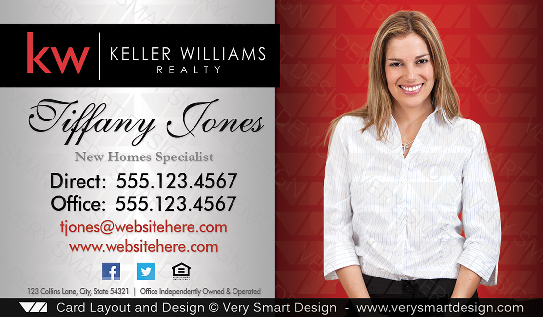 Keller williams real estate business card design 2a red and silver real estate silver and red keller williams real estate business card design 2a by keller williams colourmoves