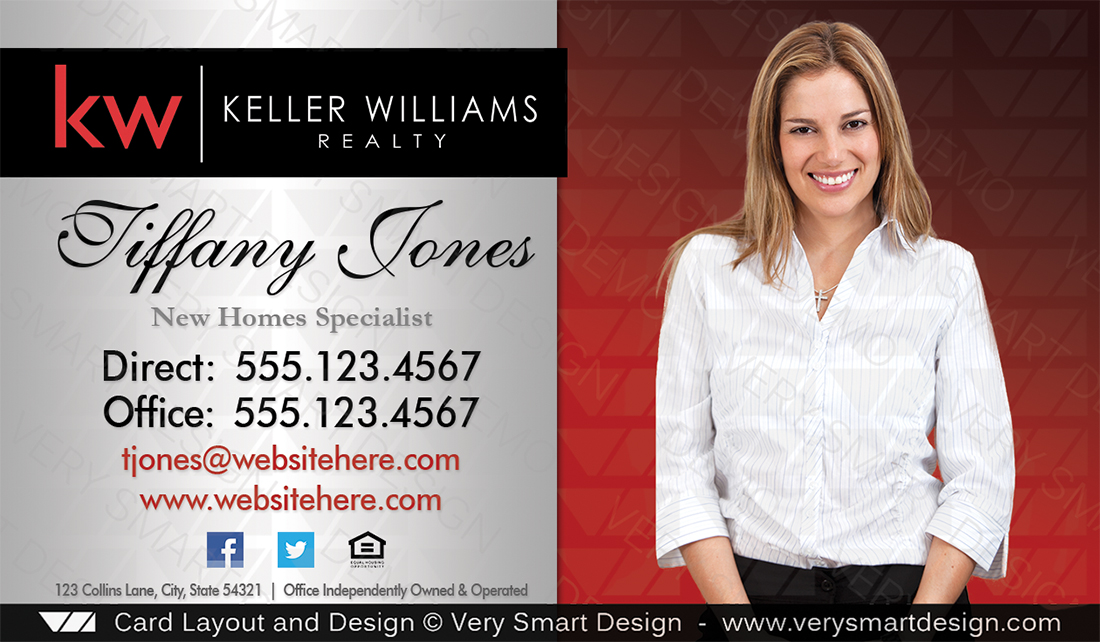 Custom keller williams business card template 2e red and silver real estate silver and red custom keller williams business card template 2e by keller williams accmission Images