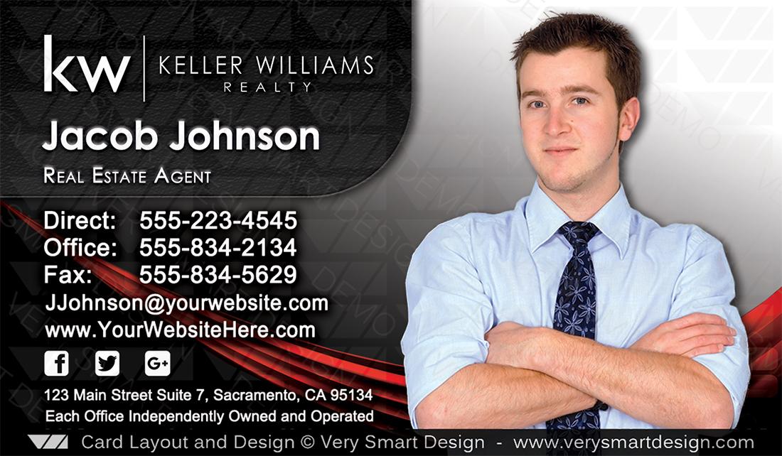 Keller williams team business cards for kw agents 7b black and silver and black keller williams team business cards for kw agents 7b colourmoves