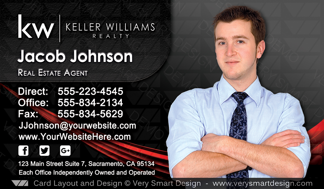 Custom keller williams business card template for kw usa 7c red and black and red custom keller williams business card template for kw usa 7c friedricerecipe Gallery