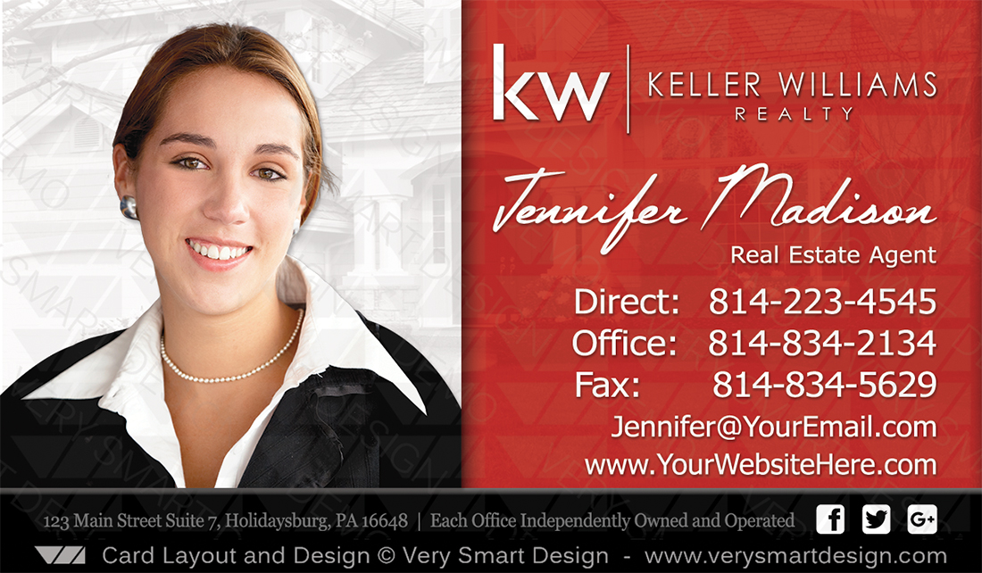 Keller Williams Realtor Business Cards for KW Associates 9B Black ...