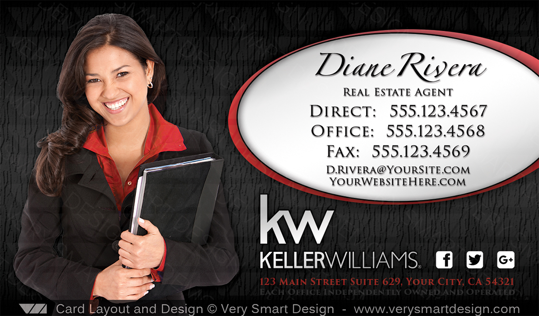 Keller Williams Team Business Cards for KW Agents 12A Red and Black ...