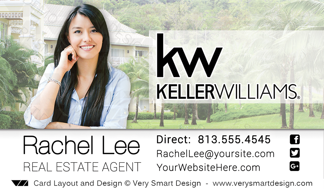 Business Cards Keller Williams Real Estate Agents in USA 15F White ...