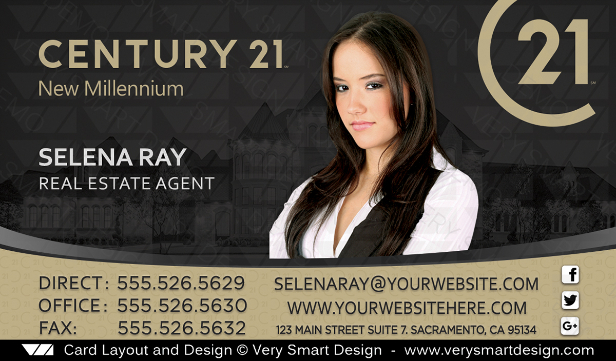 New C21 Logo Agent Real Estate Business Cards Century 21 Design 1D ...
