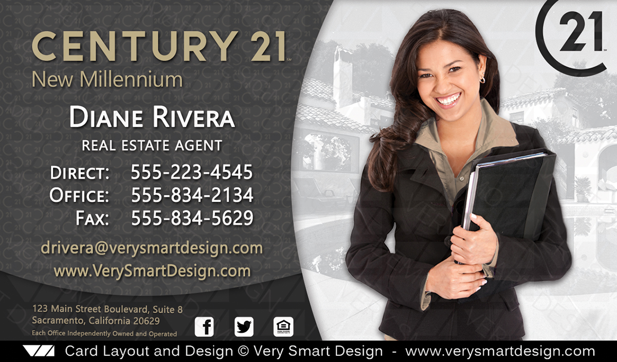New c21 logo agent real estate business cards century 21 design 3d dark gray and gold new c21 logo agent real estate business cards century 21 design 3d accmission Choice Image