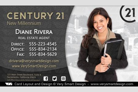 Century 21 realtor new business cards for c21 associates 3a dark dark gray and gold new c21 logo agent real estate business cards century 21 design 3d reheart Image collections