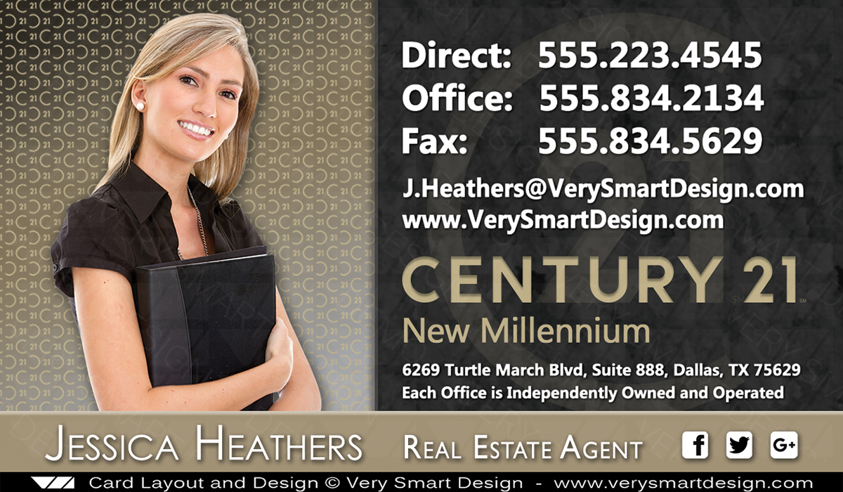 Century 21 Real Estate Business Cards with New C21 Logo Template 4B ...