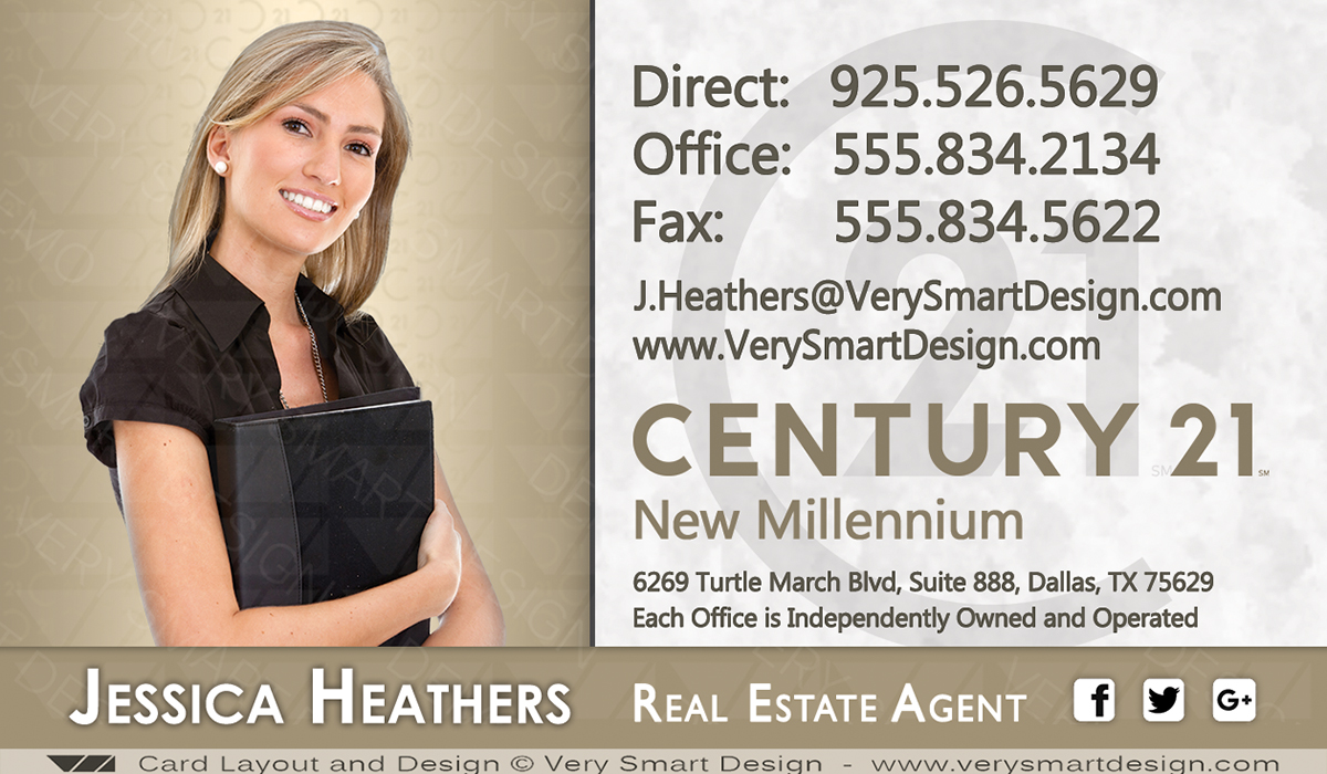 Century 21 Real Estate Business Cards with New C21 Logo Template 4D ...