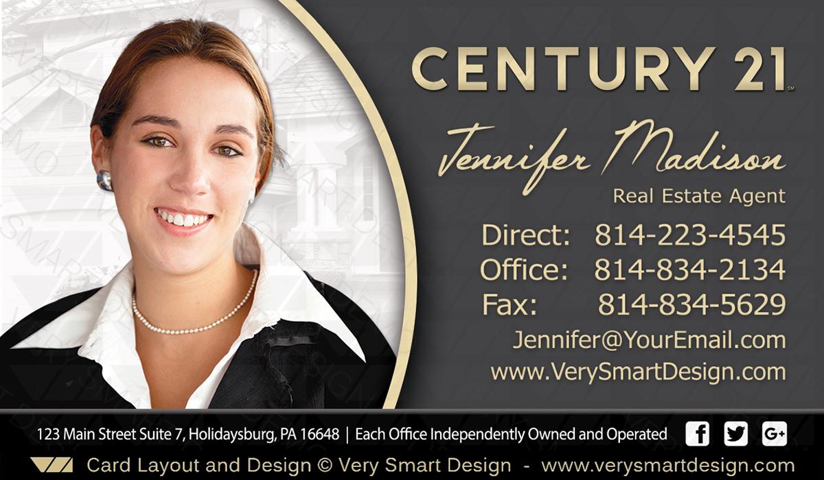 Century 21 Realtor New Logo Business Cards for C21 Associates 9C ...