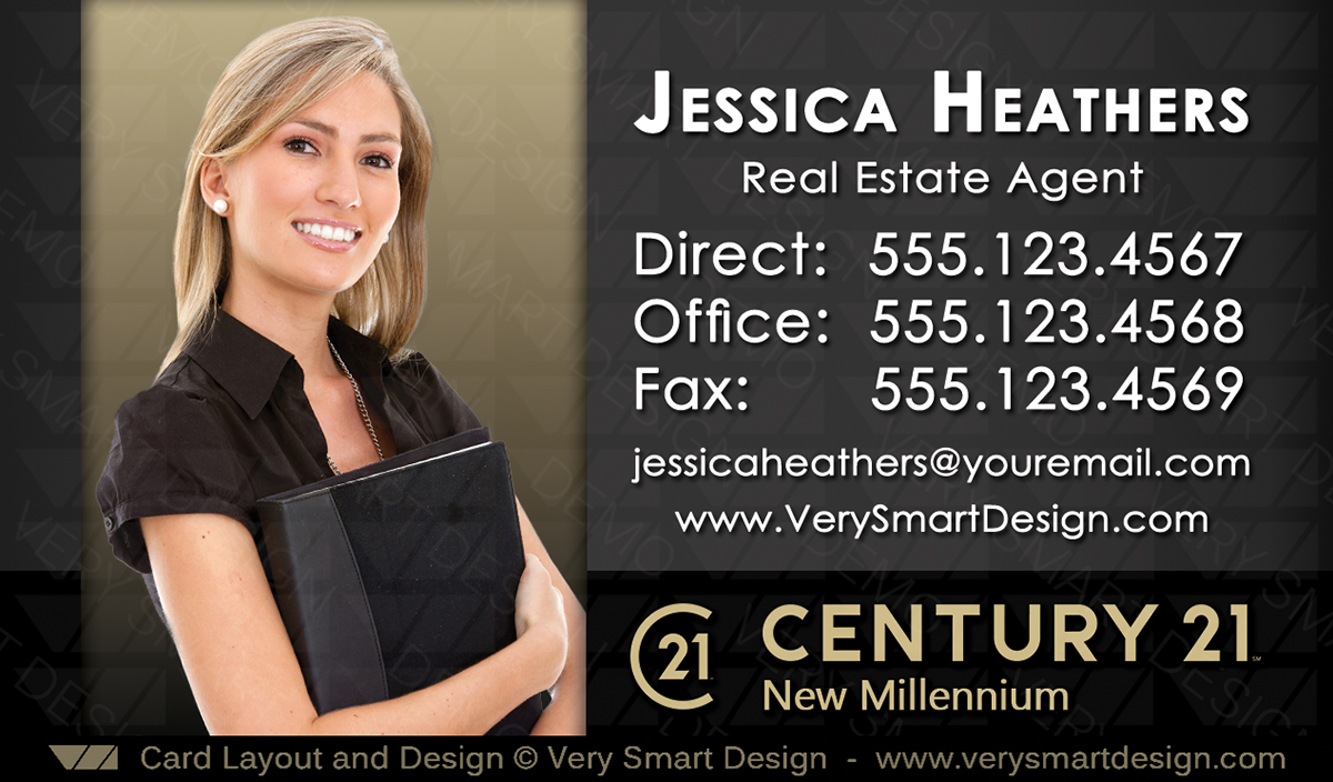 Custom century 21 business card templates with new c21 logo 14a dark gold and dark gray custom century 21 business card templates with new c21 logo 14a flashek Images