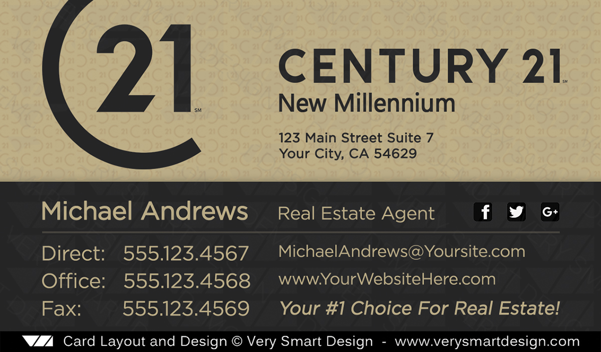 Century 21 Real Estate Business Cards with New C21 Logo Agents 16C ...