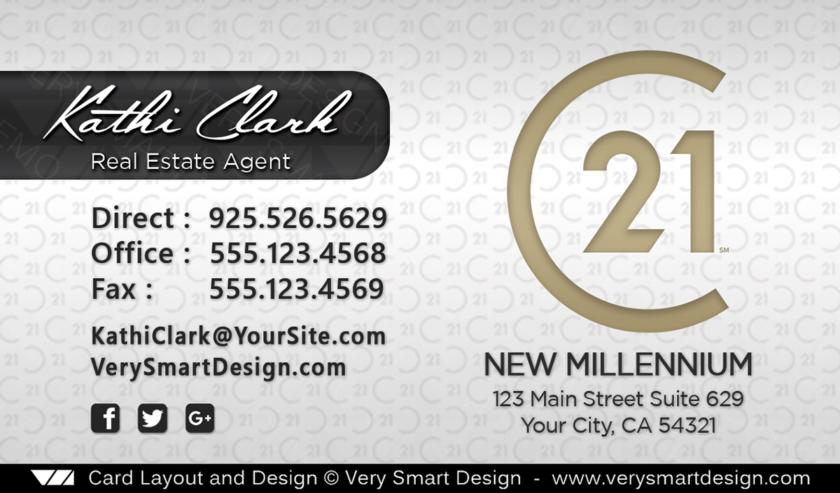 New C21 Logo Century 21 Business Cards Real Estate Template 18C ...